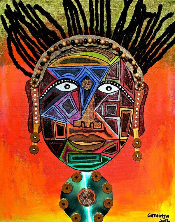 True African Art Poster featuring the painting Uso 2 by Gathinja