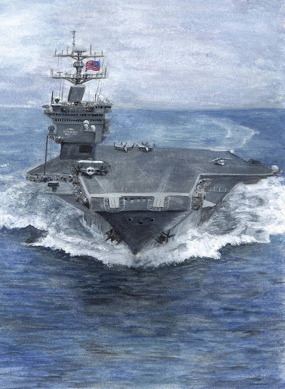 Navy Poster featuring the painting Uss Enterprise by Sarah Howland-Ludwig