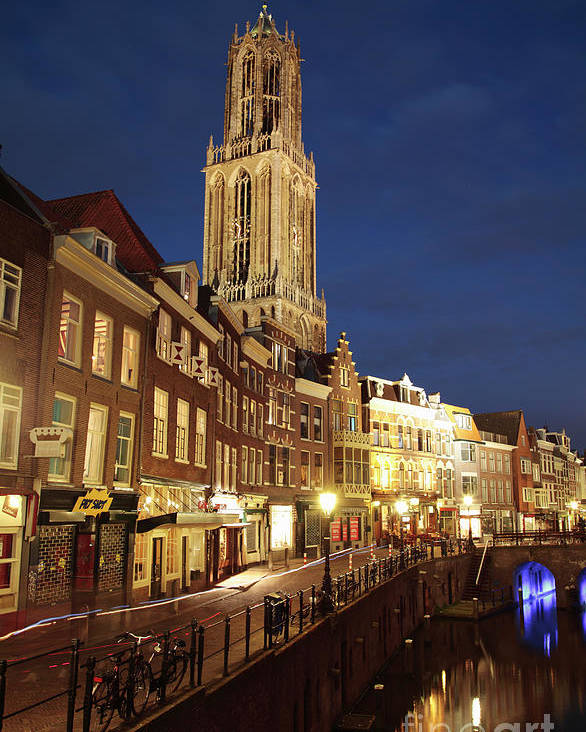 Utrecht Poster featuring the photograph Utrecht Cathedral At Night by Neil Overy