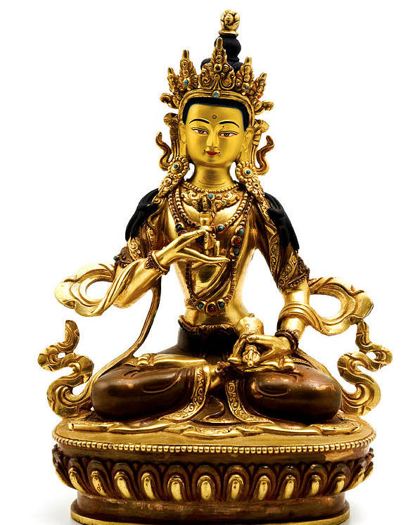 White Background Poster featuring the photograph Vajrasattva by Fabrizio Troiani