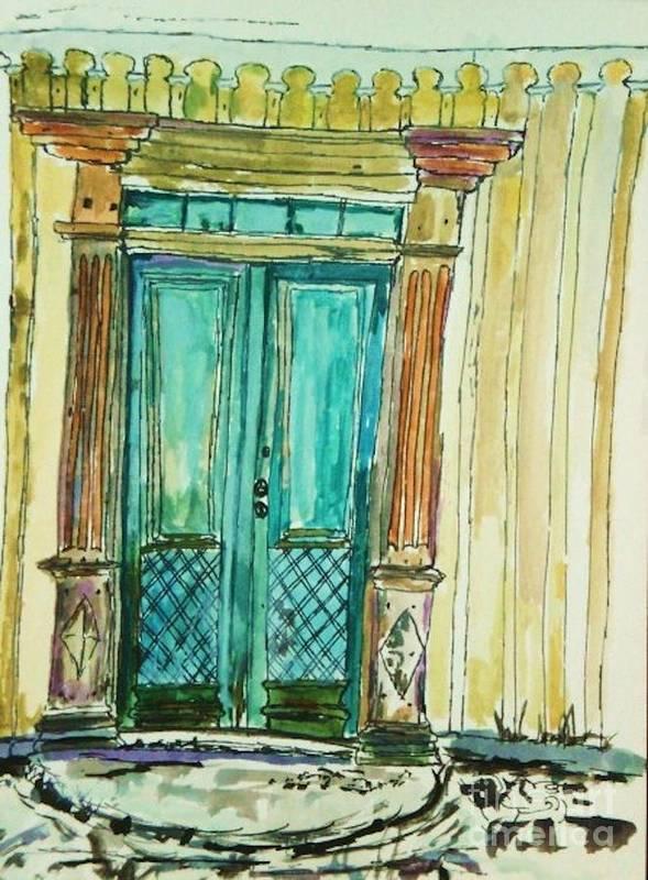 Door Poster featuring the painting Valkommen by Helena Bebirian