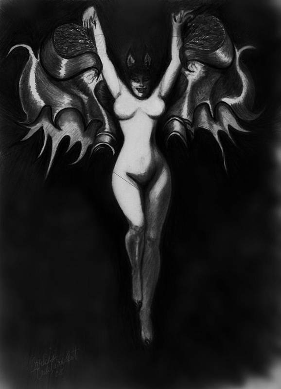 Dracula Vampire Mythical Fantasy Poster featuring the drawing Vampir De La Femme by Carliss Mora