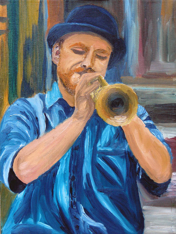Musician Poster featuring the painting Van Gogh Plays The Trumpet by Michael Lee