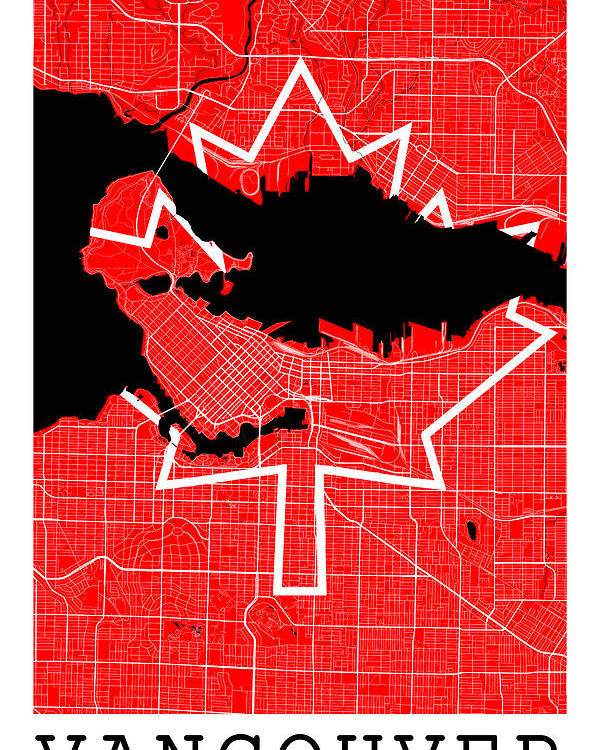 Vancouver Street Map Vancouver Canada Road Map Art On Canada Flag