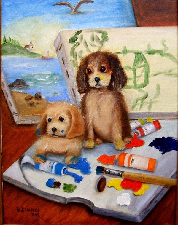 Puppies Poster featuring the painting Vandog Artists by Beverly Hanni
