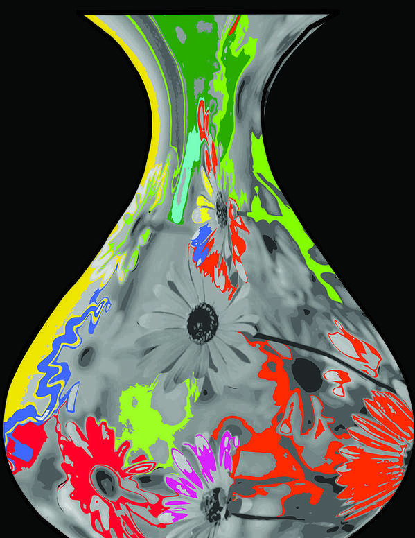 Vase Poster featuring the digital art Vase by Hema Rana