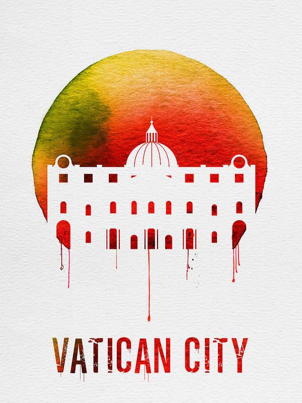 Vatican City Poster featuring the digital art Vatican City Landmark Red by Naxart Studio
