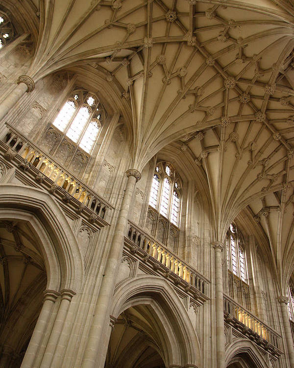 Winchester Cathedral Poster featuring the photograph Vaulted Ceiling by Michael Hudson