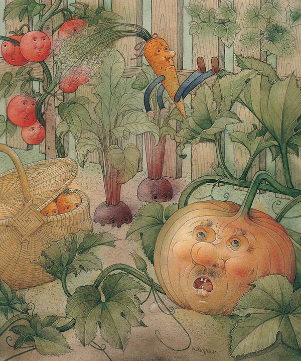 Vegetables Garden Green Autumn Kitchen Pumpkin Poster featuring the painting Vegetables by Kestutis Kasparavicius