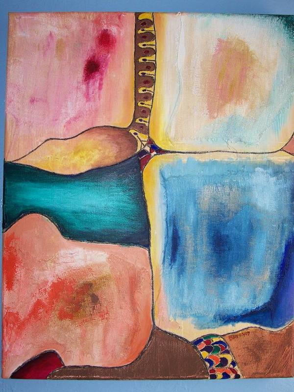 Abstract Poster featuring the painting Veils Of Illusion by Daav Corbet