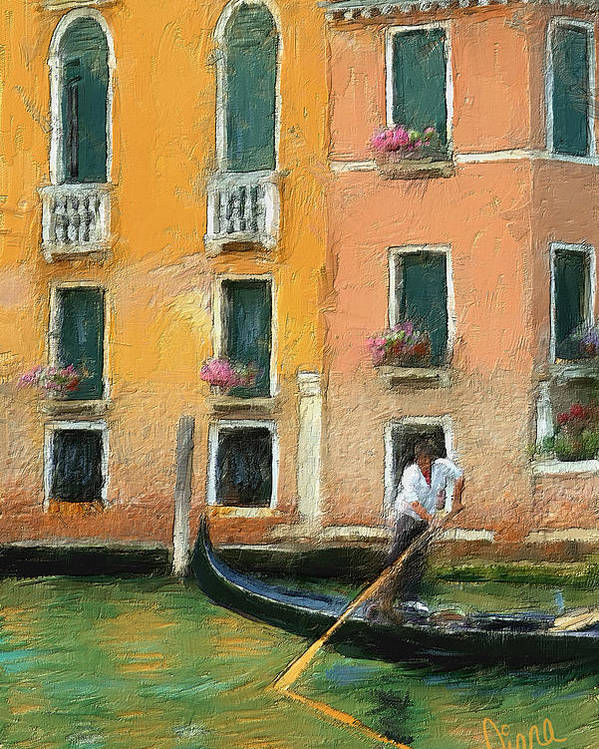 Venice Poster featuring the painting Venice Canal Boat by Diana Ralph