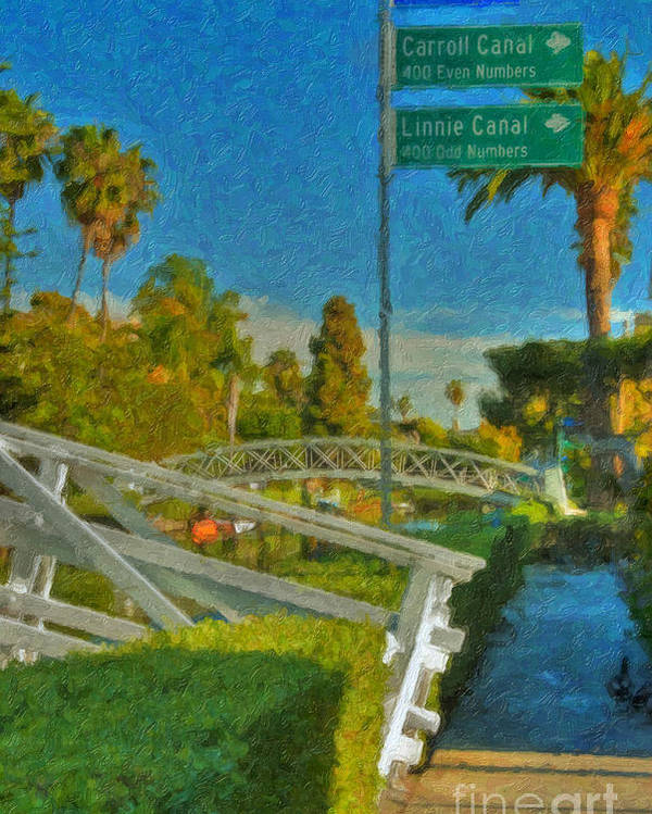 Venice Canal Bridge Signs Poster featuring the photograph Venice Canal Bridge Signs by David Zanzinger