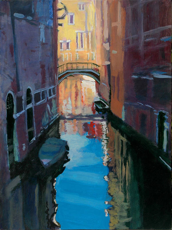 Venice Poster featuring the painting Venice Canal by Robert Bissett