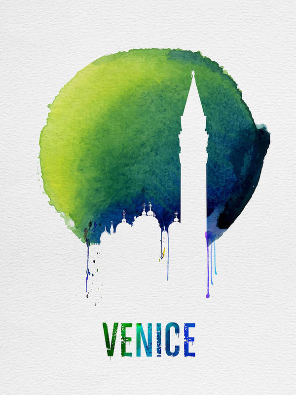 Venice Poster featuring the painting Venice Landmark Blue by Naxart Studio