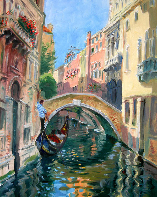 Venice Poster featuring the painting Venice Ponte Widmann by Ylli Haruni