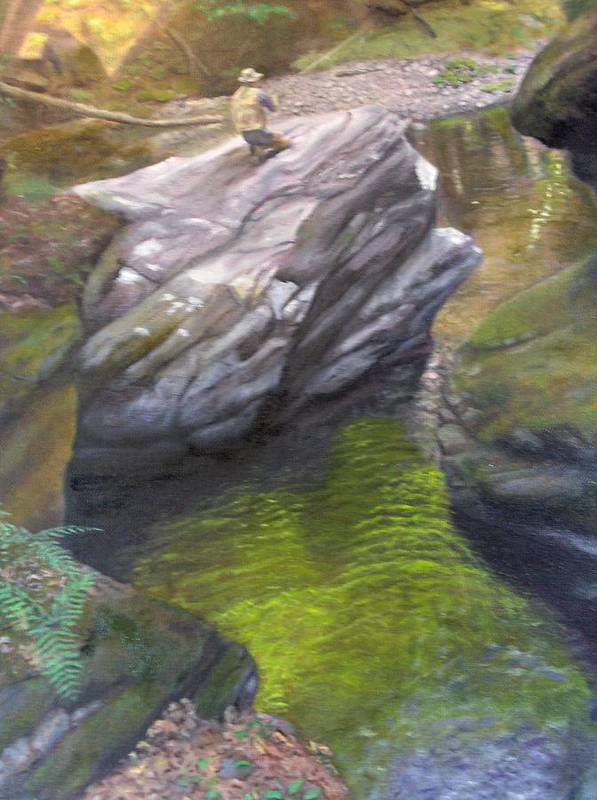 Landscape Poster featuring the painting Vermont Fisherman by Laurel Ellis
