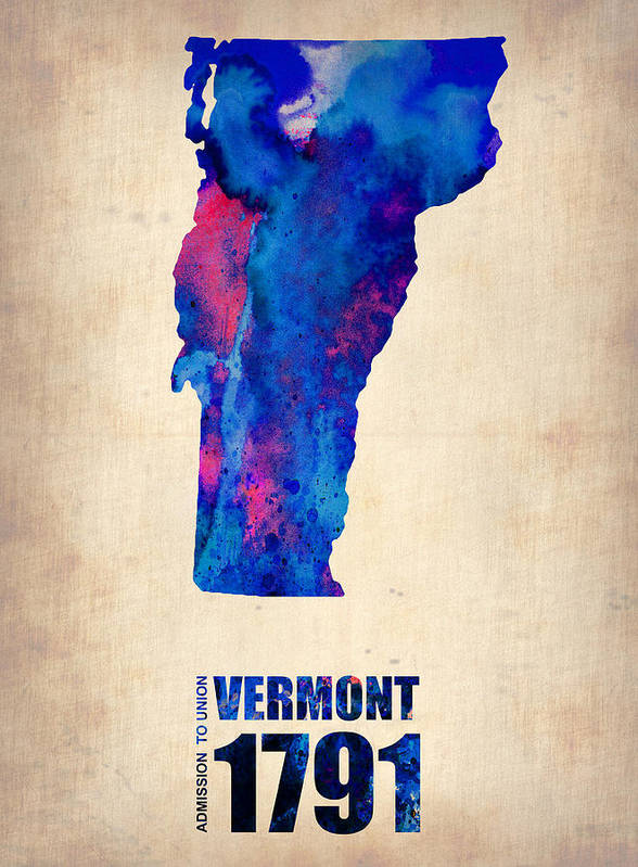 Vermont Poster featuring the digital art Vermont Watercolor Map by Naxart Studio