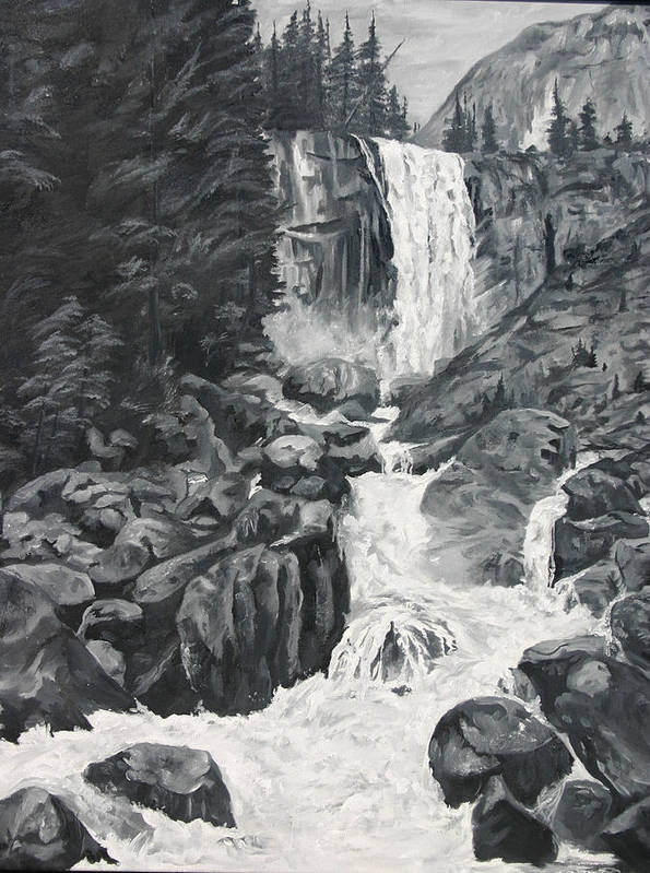 Landscape Poster featuring the painting Vernal Falls Black And White by Travis Day