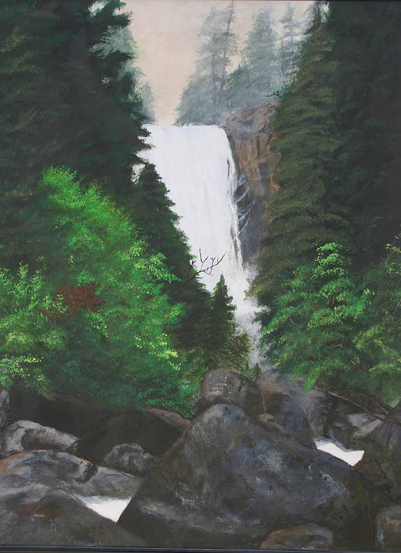 Landscape Poster featuring the painting Vernal Falls by Travis Day
