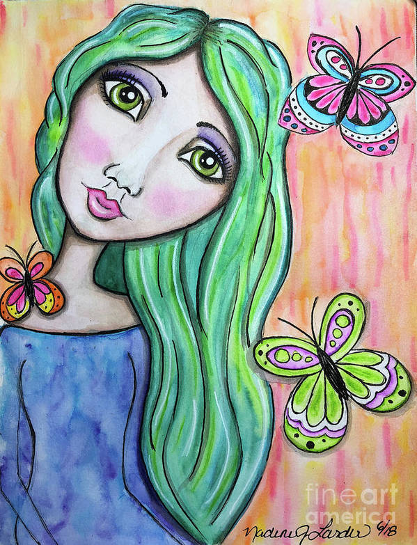 Whimsical Character Poster featuring the painting Hazel by Nadine Larder