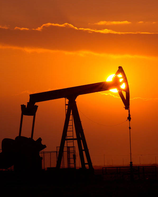 Bakersfield Poster featuring the photograph Vertical Oil Rig Sunset by Connie Cooper-Edwards