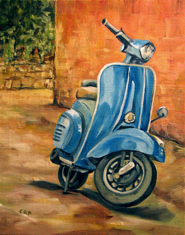 Vespa Poster featuring the painting Vespa 2 by Cheryl Pass
