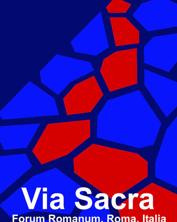 Via Sacra Poster featuring the digital art Via Sacra - Text by Asbjorn lonvig