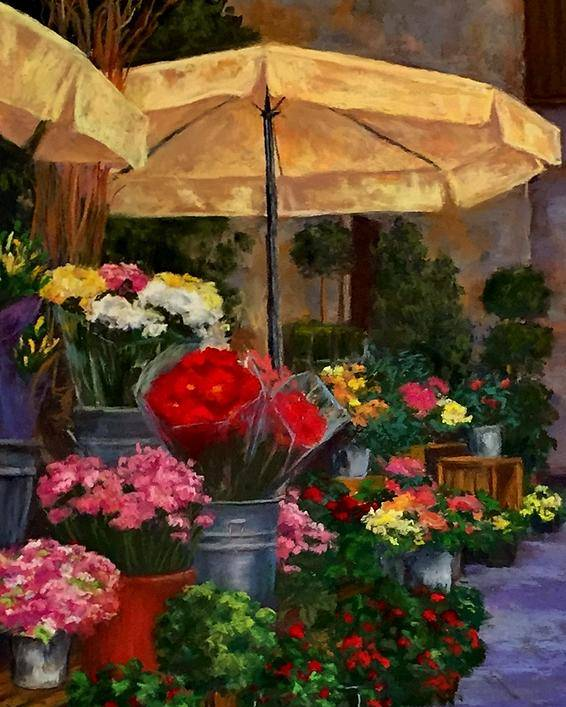 Flowers Flower Market France Landscape Still Life Red Yellow Plants Umbrellas Old Village Poster featuring the pastel Vibrant Blooms by Candice Ferguson