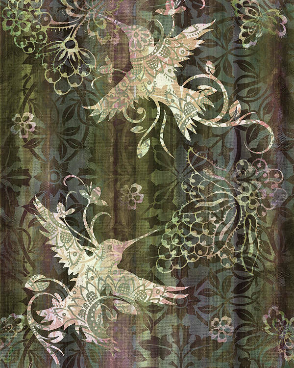 Hummingbird Poster featuring the painting Victorian Hummingbird Green by JQ Licensing