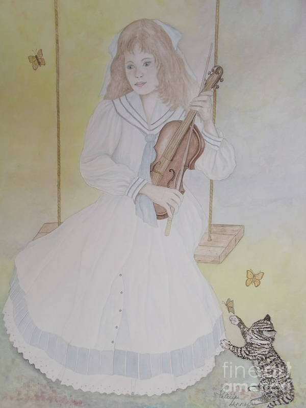 Girl Poster featuring the painting Victoria's Violin by Patti Lennox