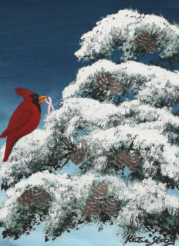 Cardinal Poster featuring the painting Victorious by Katie Slaby