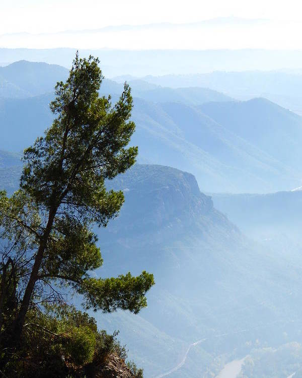 Hazy Horizon Poster featuring the photograph View From Montserrat, Spain by Barbara Ebeling