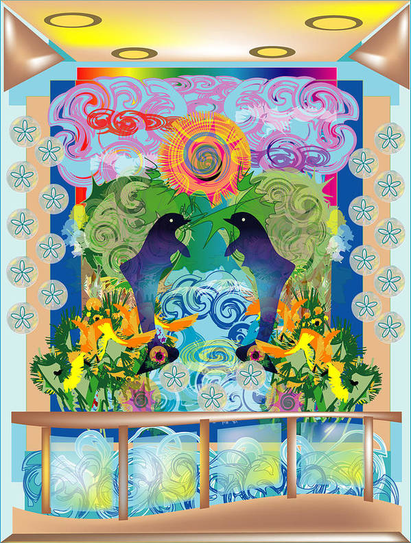 Poster featuring the digital art View From My Lanai by George Pasini