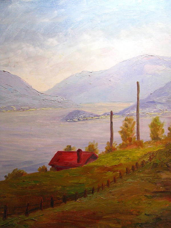 Italy Poster featuring the painting View Of Bellagio Lake Como Italy by Belinda Consten