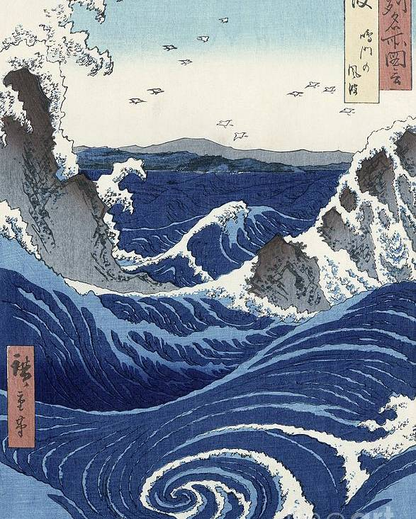 View Poster featuring the painting View Of The Naruto Whirlpools At Awa by Hiroshige
