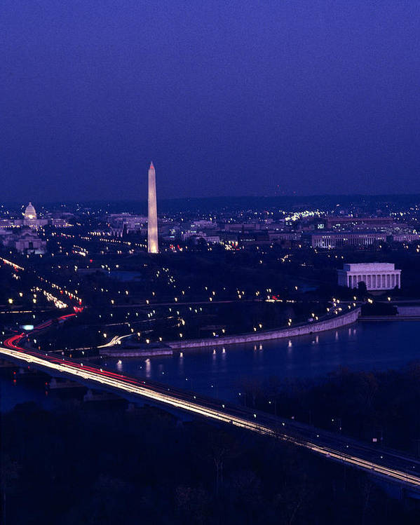 Washington Poster featuring the photograph View Of Washington D.c. At Night by Kenneth Garrett