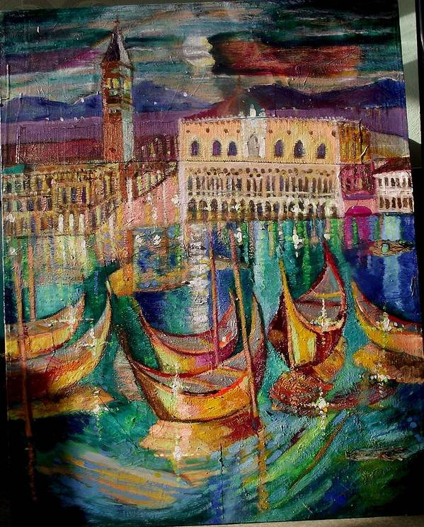 Nigt Poster featuring the painting View On Venice by Magdalena Kurek