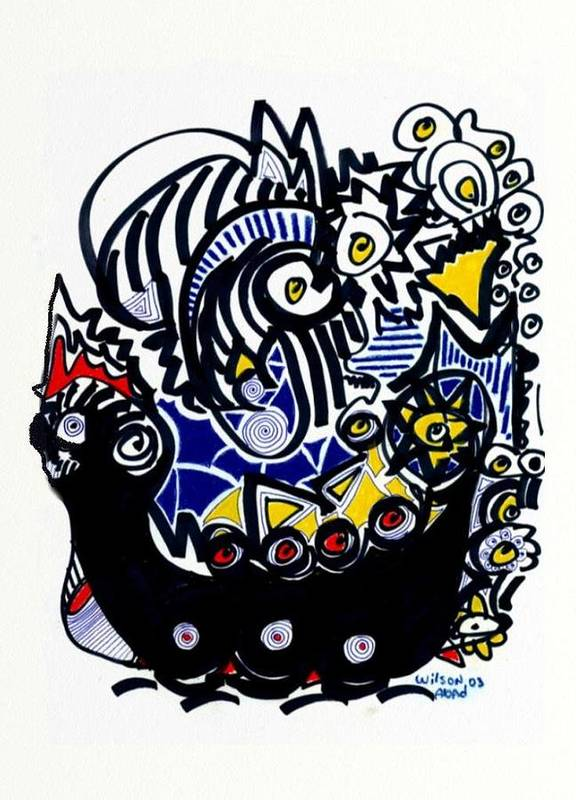 Viking Ship Poster featuring the drawing Viking Ship by Wilson Abad