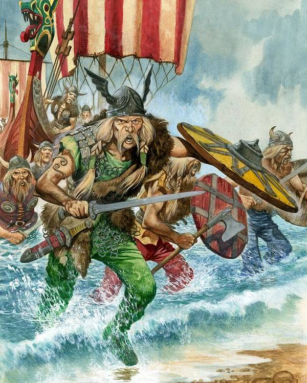 Vikings; Arriving; Landing; Ship; Boat; Sea; Charge; Headgear; Sailing; Sword; Moustache; Viking; Norse Poster featuring the painting Vikings by Pete Jackson