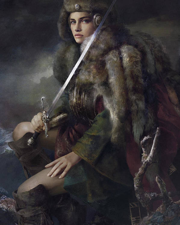 Warrioress Poster featuring the painting Viktoria by Eve Ventrue