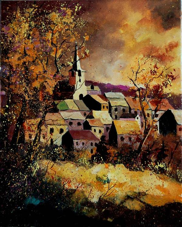 River Poster featuring the painting Village In Fall by Pol Ledent