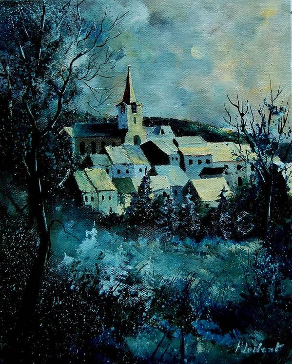 River Poster featuring the painting Village In Winter by Pol Ledent
