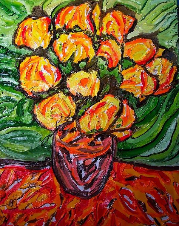Van Gogh Poster featuring the painting Vinces Flowers by Ira Stark