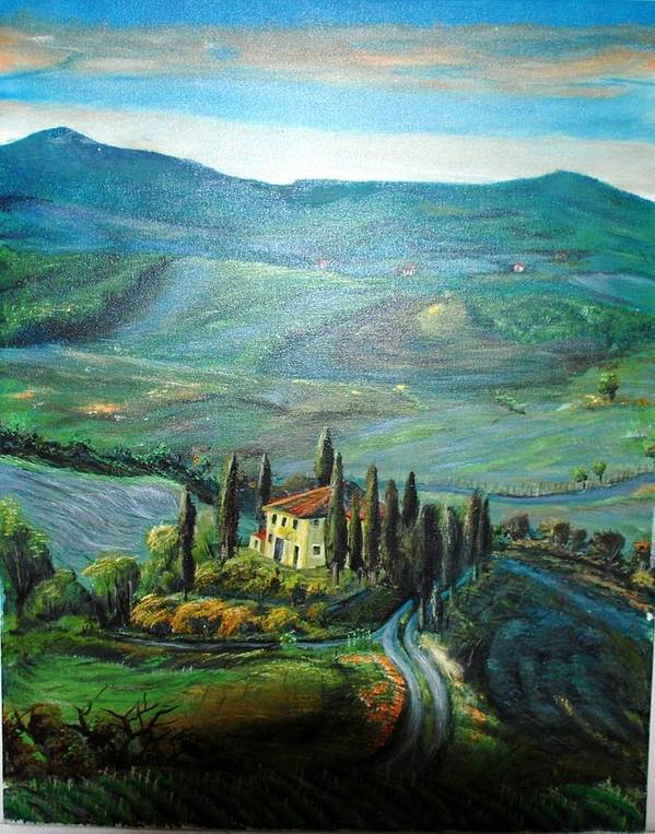 Italy Poster featuring the painting Vineyard by Cvetko Ivanov