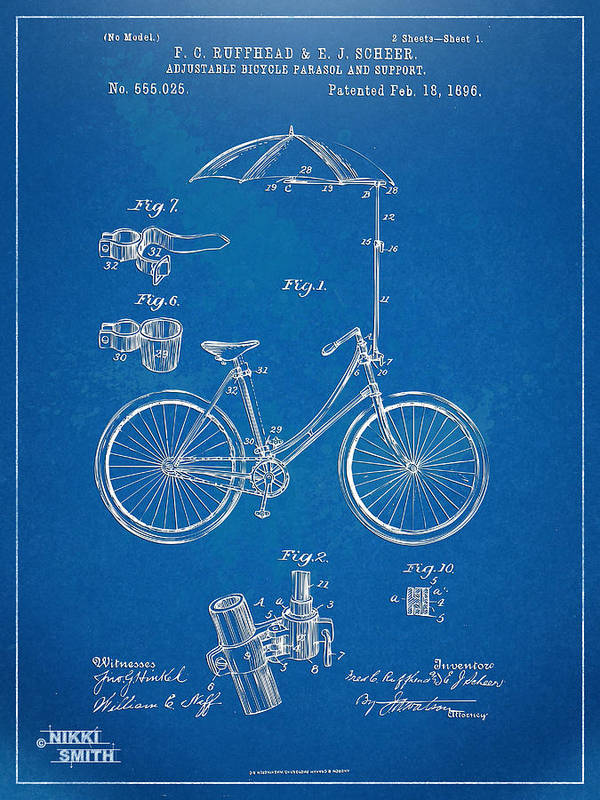Bicycle Poster featuring the digital art Vintage Bicycle Parasol Patent Artwork 1896 by Nikki Marie Smith