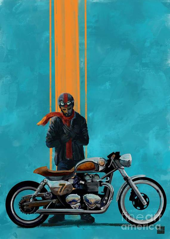 Cafe Racer Poster Featuring The Painting Vintage By Sassan Filsoof