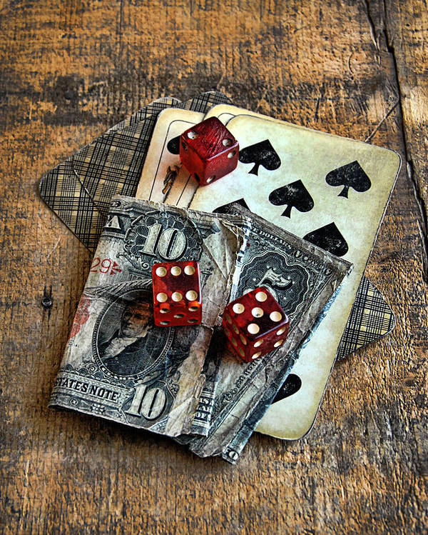 Cards Poster featuring the photograph Vintage Cards Dice And Cash by Jill Battaglia
