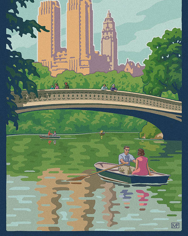 Bow Bridge Poster featuring the digital art Vintage Central Park by Mitch Frey