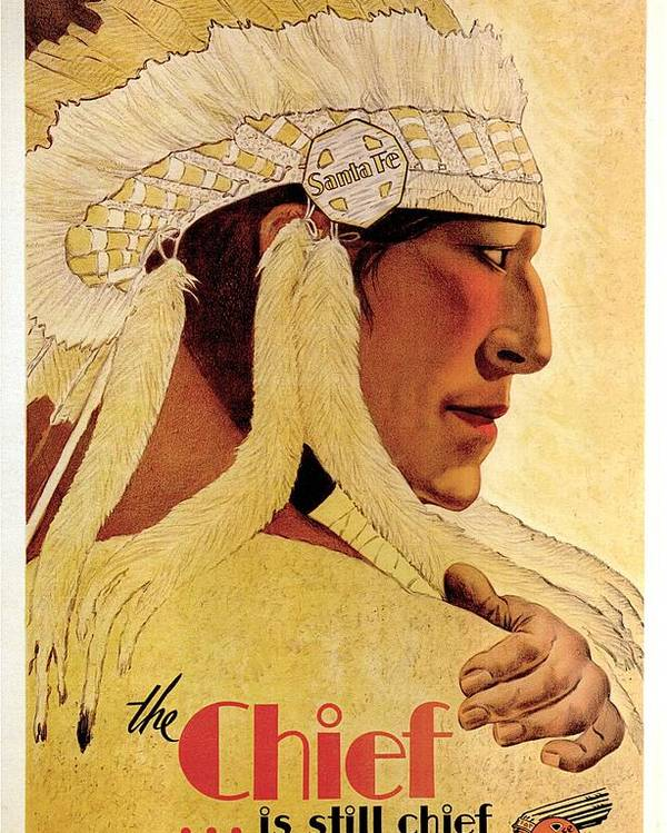 Indian Chief Poster featuring the painting Vintage Illustration of an Indian Chief - The Chief is still chief - Indian Headgear - Retro Poster by Studio Grafiikka