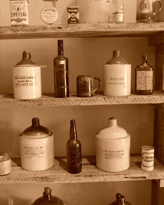 Sepia Photographs Poster featuring the photograph Vintage Jugs by Dennis Hammer